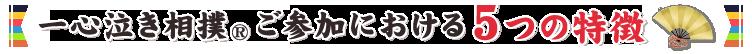 一心泣き相撲®ご参加における5つの特長
